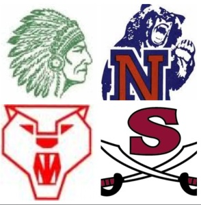 High school basketball in my hometown was very competitive and extremely fun to watch as a kid growing up in Dalton, GA. The school logos are mentioned in a clockwise rotation: the Indians of Murray County High School, the Bruins of Northwest Whitfield High School, the alma mater of yours truly, the Raiders of Southeast Whitfield High School, and the Catamounts of Dalton High School.
