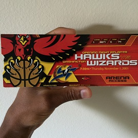 My ticket to witness Jordan's first game back against the Hawks, this time as a Washington Wizard.