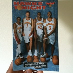 Program Directory to the Hawks vs, Wizards matchup of November 1, 2001.