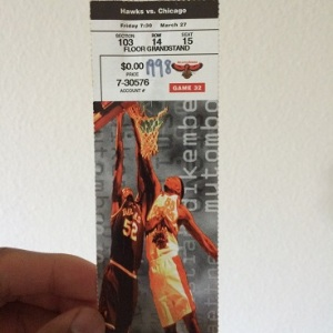 My ticket stub for the game.
